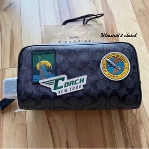 💯🆕Coach Men Travel kit bag/pouch/charcoal multi